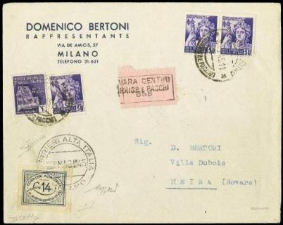 ITALIA 1945 - Luogotenenza CORALIT 14L azzurro su busta