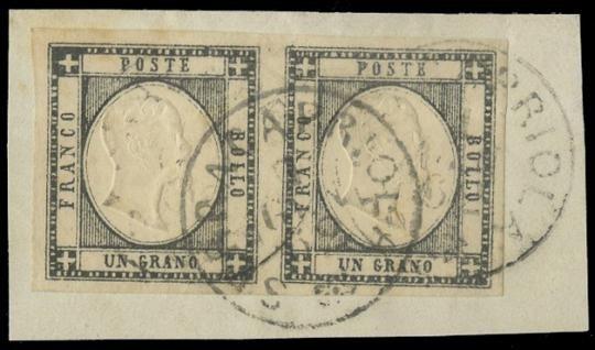"""PROVINCE NAPOLETANE 1861 - gr nero coppia annullata """"SERRACAPRIOLA......"""""""