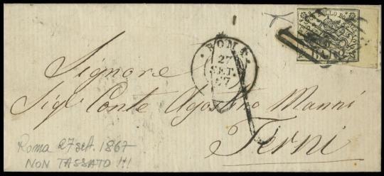 """PONTIFICIO 1852 - 2 baj bianco annullato con bollo muto a losanga da """"ROMA 27 SET 67"""" a Terni"""