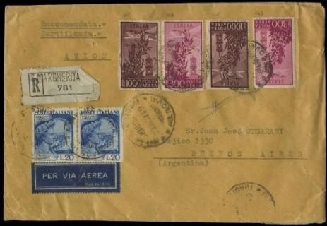 ITALIA REPUBBLICA 1948/52 - PA143+PA145+PO614 su raccomandata aerea
