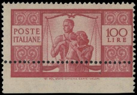 ITALIA REPUBBLICA 1946 - Democratica, 100L, carminio vivo