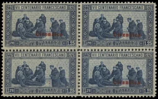 COLONIE ITALIANE 1926 - Cirenaica: S. Francesco Lire 1,25 azzurro, blocco di quattro