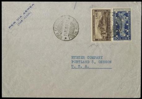 ITALIA REPUBBLICA 1949 - 597+600 su busta per Portland
