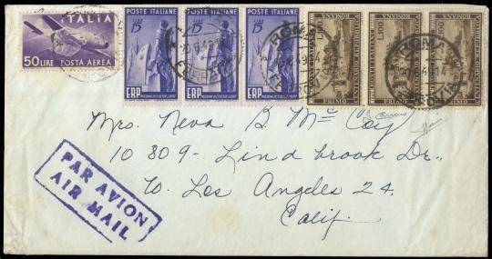 ITALIA REPUBBLICA 1949 - PO600+PO602+PA134 su lettera