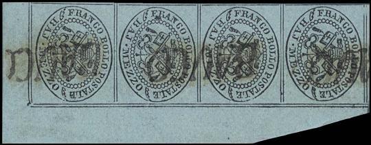 PONTIFICIO 1852 - 1/2b grigio azzurro striscia di quattro angolo di foglio