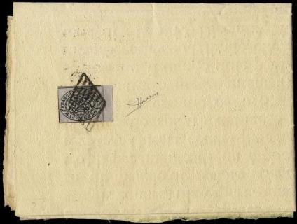 PONTIFICIO 1852 - 1/2 baj grigio lilla su manifesto a stampa