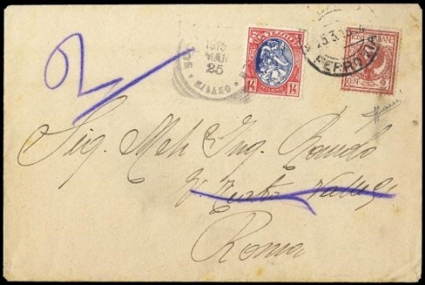 ITALIA REGNO 1901 - Floreale, 2c rosso bruno su busta per stampati