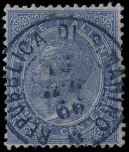"""SAN MARINO 1866 - DLR 15c azzurro annullato  """"REPUBBLICA DI S. MARINO *10...66"""""""