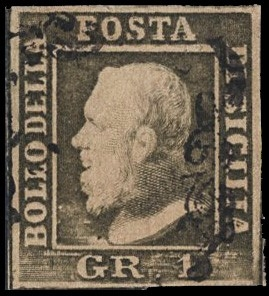 SICILY 1859 - 4f: 1gr olive grey-green, position n. 35 of the II plate, Palermo's paper