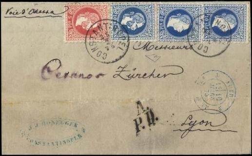 """AUSTRIA 1875 - 03+4+4/I: VI emissione: 5s rosso+10s azzurro tre esemplari da """"COSTANTINOPEL 25/2"""" 1875 per Lione"""
