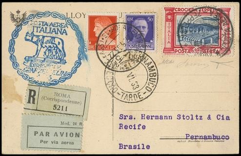 ITALIA REGNO 1933 - Crociera Zeppelin, PA47 su cartolina diretta a Pernambuco il 27 maggio 1933
