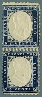 ITALIA REGNO 1862 - 20c+20c indaco coppia verticale