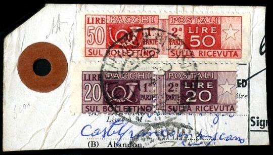 ITALIA REPUBBLICA 1946 - Pacchi Postali 50 l. rosso