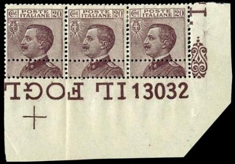 ITALIA REGNO 1926 - 204d: 20c violetto bruno, ST3 AdF con numero di tavola, doppia dentellatura