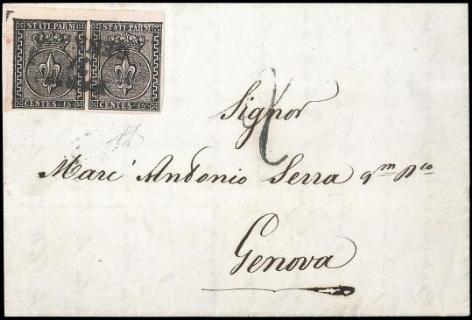 PARMA 1853 - 15c rosa, coppia, su lettera per Genova