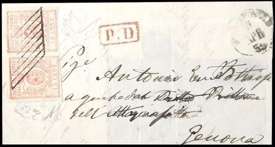 """PARMA 1859 - 15c vermiglio, coppia disallineata su lettera inglese da """"PIACENZA 5/4/1859"""" a Genova"""