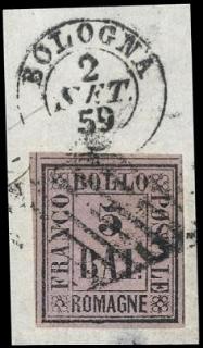 ROMAGNE 1859 - 5baj violetto con annullo a griglia su frammento
