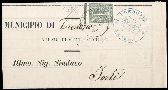 ITALIA REGNO 1884 - T14ge: 1c verde oliva, Torino, BdF superiore con linea di riquadro completa su stampato per Forlì