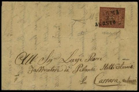 "PARMA 1855 - 25 c bruno rosso su lettera da ""Parma 27 AGO 55"" a Carrara"