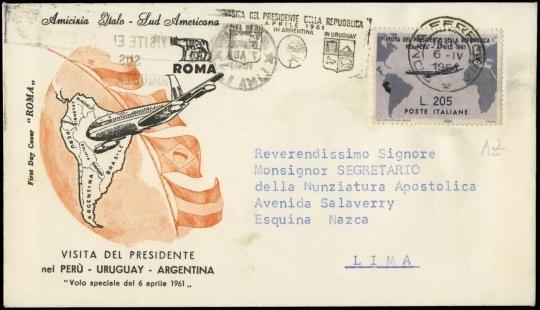 """ITALIA REPUBBLICA1961 - 205L lilla rosa, """"Gronchi Rosa"""" ricoperto da 205L grigio violetto su busta"""