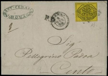 PONTIFICIO 1867: 40c giallo su lettera per Cento