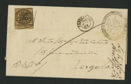 """PONTIFICIO 1852 - 3baj bistro arancio su lettera da """"SENIGALLIA 29 AGO 57"""" (AN) a Pergola"""