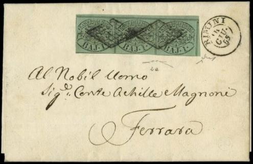 PONTIFICIO 1852 -1baj verde azzurro striscia di tre AdF