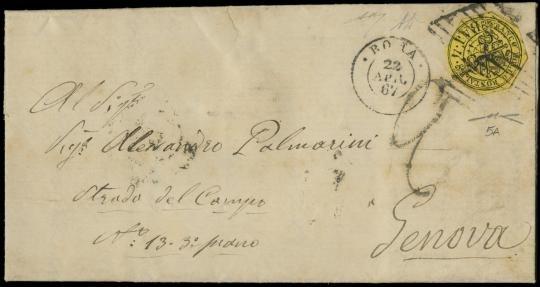 """PONTIFICIO 1864 - 4baj giallo """"lilliput"""" su lettera da """"ROMA 22 APR. 67"""""""