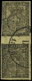 PARMA 1b - 5c giallo chiaro verdino coppia verticale