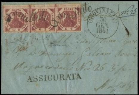 NAPOLI 1858: 2gr carminio vivo III tav, striscia orizzontale di tre su lettera diretta a Napoli