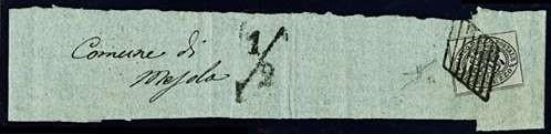 PONTIFICIO 1852 - 1/2b grigio lilla su fascetta per stampati per Mesola