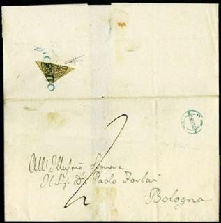 PONTIFICIO 1852 - 4baj bruno grigio chiaro al verso di lettera per Bologna
