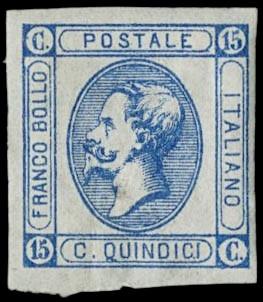 ITALIA REGNO 1863 - 15c azzurro litografico I tipo