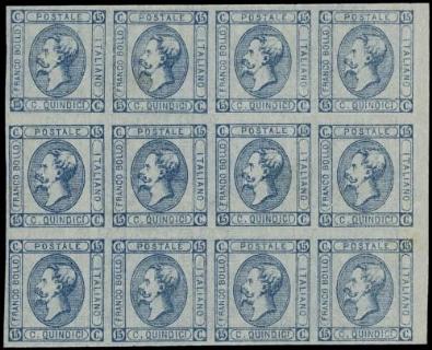 ITALIA REGNO 12 - 15c azzurro, BL12, resti di stamperia