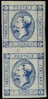 ITALIA REGNO 1863 - 15c azzurro, coppia verticale