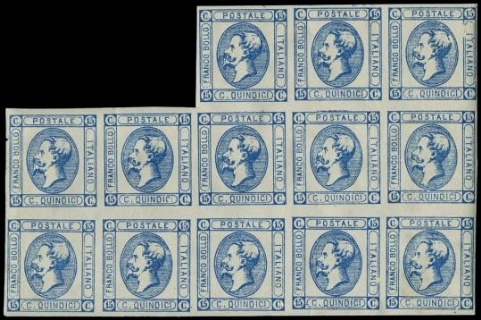 ITALIA REGNO 1863 - 15c azzurro, BL13