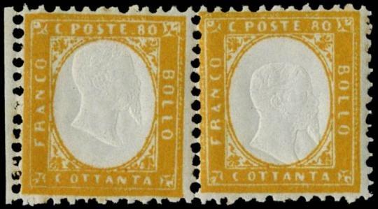 ITALIA REGNO 1862 - 80c arancio vivo coppia