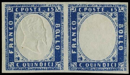 ITALIA REGNO 1863 - 15c azzurro scuro coppia