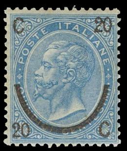 ITALIA REGNO 24 - Vittorio Emanuele II, 20c su 15c azzurro, II tipo