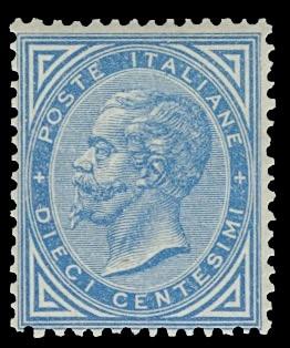 ITALIA REGNO27 - Vittorio Emanuele II, 10c azzurro