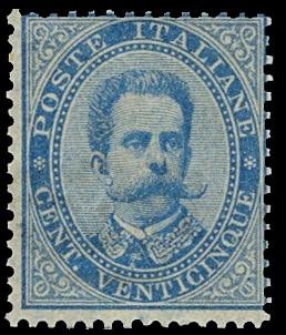 ITALIA REGNO 40 - Umberto I, 25c azzurro