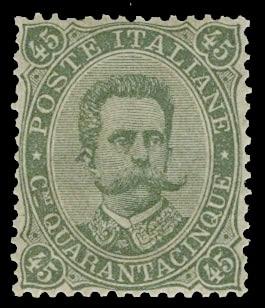 ITALIA REGNO 46 - Umberto I, 45c verde oliva