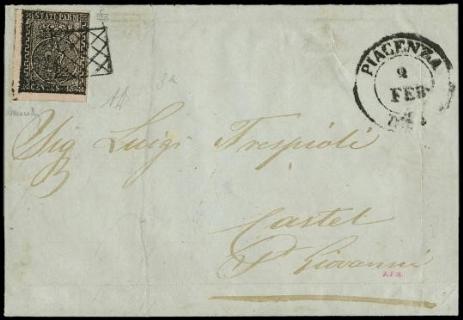 PARMA 1852 - 15c rosa chiaro AdF su lettera