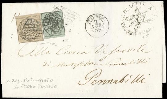 PONTIFICIO 1852 - 1baj verde grigiastro + 4baj bruno grigio chiaro su lettera per Pennabilli