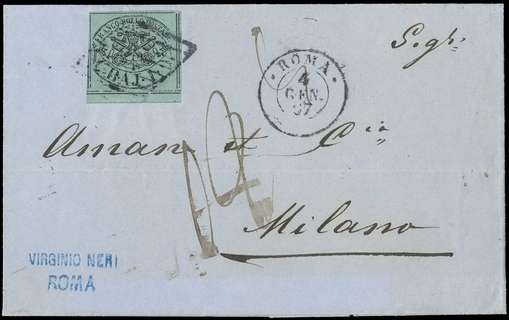 PONTIFICIO 1852 - 1 baj verde scuro BdF su lettera per Milano