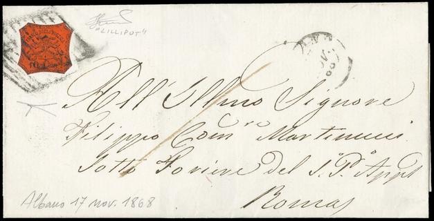 PONTIFICIO 1868 - 10c arancio vermiglio su lettera per Roma