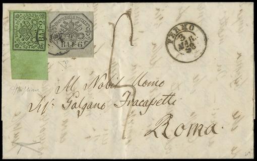 PONTIFICIO 1852 - 2 baj verde oliva + 6 baj grigio su lettera per Roma