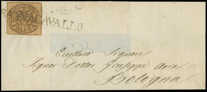 PONTIFICIO 1854 - 3 baj bruno grigiastro su lettera per Bologna