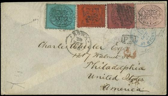 PONTIFICIO 1868 - n.30+27+26a+25 su busta indirizzata a Filadelfia
