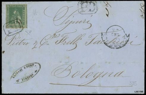 TOSCANA 1851 - 06+pt.3: 4cr verde su lettera da Firenze a Bologna